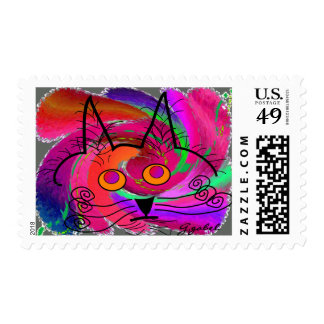 Cat Lovers abstract art gifts Postage Stamps
