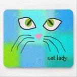 """Cat Lovers Art """"Cat Lady"""" Mousepads"""