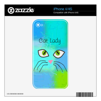 "Cat Lovers Art ""Cat Lady"" Skins For The iPhone 4"