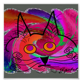 Cat Lovers Art Poster--Abstract Oil Painting Cat
