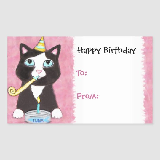 Cat Lover's Birthday Gift Tag Stickers