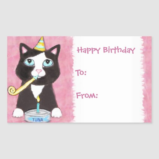 Cat Lover's Birthday Gift Tag Stickers Pink