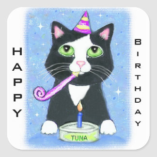 Cat Lover's Custom Happy Birthday Stickers