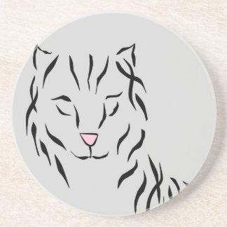 Cat Lovers Delight Ribbon Abstract Kitty Art Cat Drink Coaster