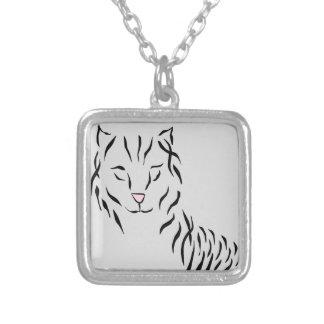 Cat Lovers Delight Ribbon Abstract Kitty Art Cat Custom Necklace