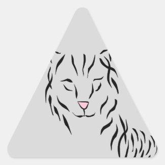 Cat Lovers Delight Ribbon Abstract Kitty Art Cat Triangle Sticker