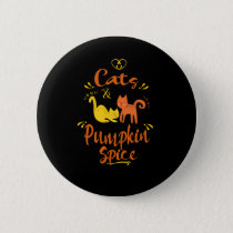 Cat Lovers Fall  Autumn Gift Love Cats & Pumpkin Button