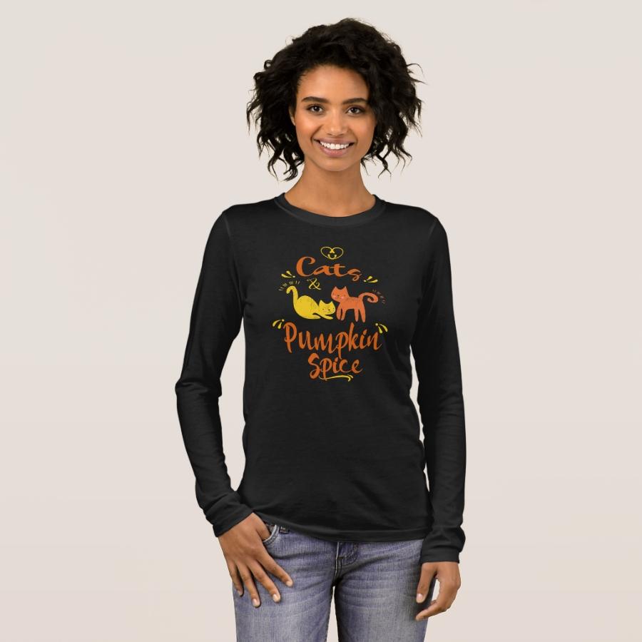 Cat Lovers Fall  Autumn Gift Love Cats & Pumpkin Long Sleeve T-Shirt - Best Selling Long-Sleeve Street Fashion Shirt Designs