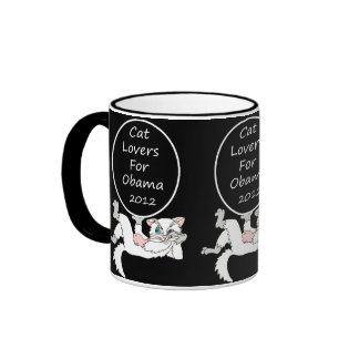 Cat Lovers For Barack Obama Ringer Coffee Mug
