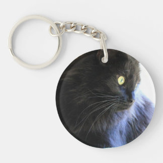Cat Lovers Key Chain, Long Haired Black Cat Keychain