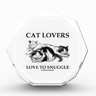 Cat Lovers Love To Snuggle Three Cats Acrylic Award