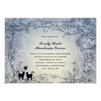 Cat Lovers Ornate Blue Vintage Wedding Invitation