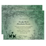 😻 Pretty Ornate Green Vintage Cat Wedding Invitation