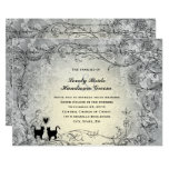 😻 Pretty Ornate Grey Gold Vintage Inspired Cat  Wedding Invitation