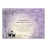 😻 Pretty Ornate Lavender Vintage Cat Wedding Invitation