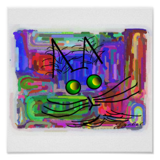 "Cat Lovers Poster ""The Curious Abstract Cat"""