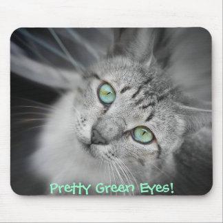 Cat Lover's Pretty Green Eyes Kitten Mousepad