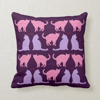 Cat Lovers Pretty Pink Purple Cat Pattern Pillow