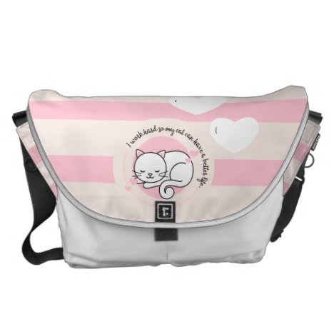 Cat Lovers Quotes Cute Kitten Napping Pink White Messenger Bag
