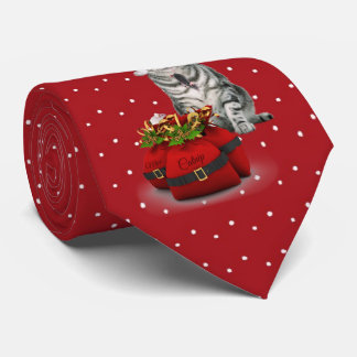 Cat Lover's Red and Green Holiday Tie