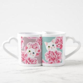 Cat Lover's Romantic Roses Adorable Nesting Mugs