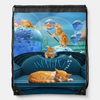 Cat Lover's Tabby Dreams Drawstring Backpack