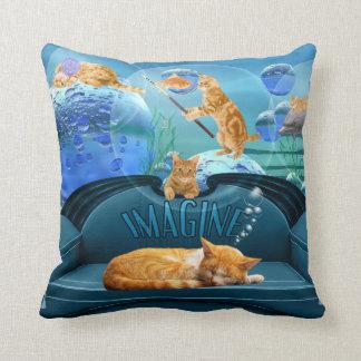 Cat Lover's Tabby Dreams Fantasy Throw Pillow