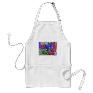 """Cat Lovers """"The Curious Abstract Cat"""" Art Adult Apron"""