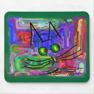 "Cat Lovers ""The Curious Abstract Cat"" Art Mouse Pad"