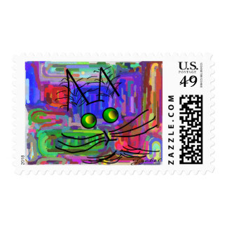 """Cat Lovers """"The Curious Abstract Cat"""" Art Stamps"""