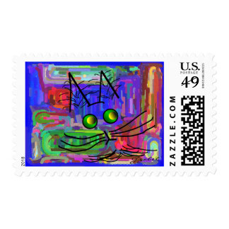 """Cat Lovers """"The Curious Abstract Cat"""" Art Postage"""