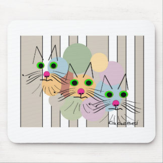 """Cat Lovers """"Three Amigos"""" Cat Art Mouse Pad"""