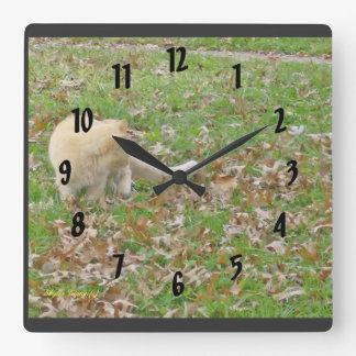 Cat Loves the Falling Leaves Square Wall Clock