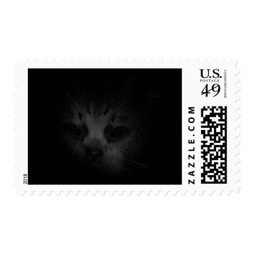 Cat Lurking In The Dark Postage