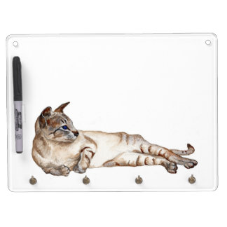 cat lying down dry erase board with keychain hooks