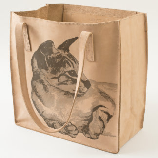 cat lying down leather tote bag
