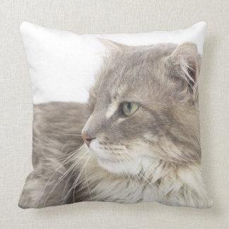 Cat lying down throw pillow