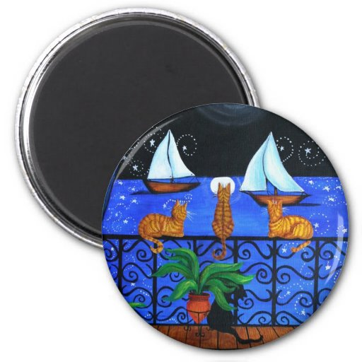 Cat Magical Night Magnets