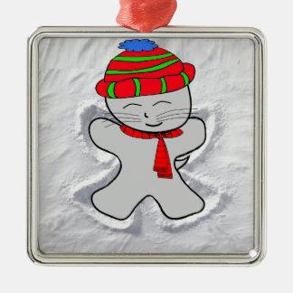 Cat Makes A Snow Angel Metal Ornament