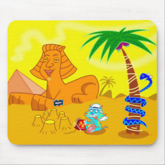 Cat Making Sandcastles in Egypt Mouse Pad