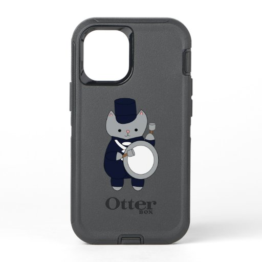 Cat Marching Band Bass Drum Navy Blue White OtterBox Defender iPhone 12 Mini Case
