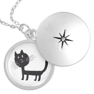 Cat Medium Silver Plated Round Locket