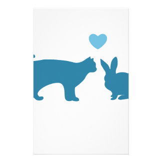 Cat Meets Bunny Personalized Stationery