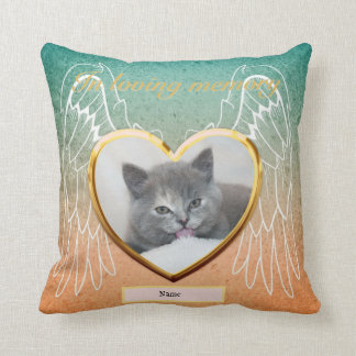 Cat Memorial Angel Wings Photo Personalized Throw Pillow