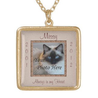 Cat Memorial Brown Tones Custom Photo Pendant