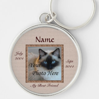 Cat Memorial Brown Tones Custom Photo Pet Loss Silver-Colored Round Keychain