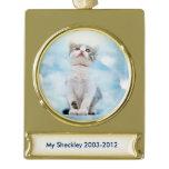 Cat Memorial Custom Banner Ornament - Gold Plated