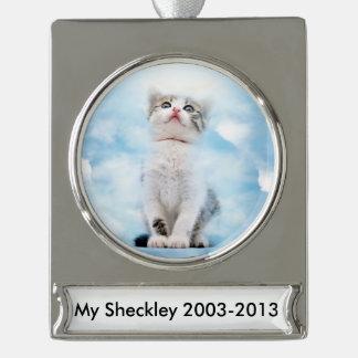 Cat Memorial Custom Banner Ornament - Silver Plate