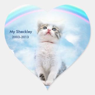 Cat Memorial Custom Heart Stickers, Glossy Heart Sticker