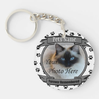 Cat Memorial - Forever Remembered - Pet Loss Cat Double-Sided Round Acrylic Keychain